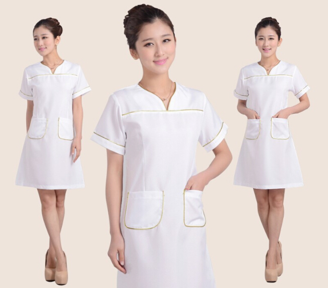 Beautician overalls summer female Beauty salon overalls with short sleeves Beauty clothing new Beautician clothing(China (Mainland))