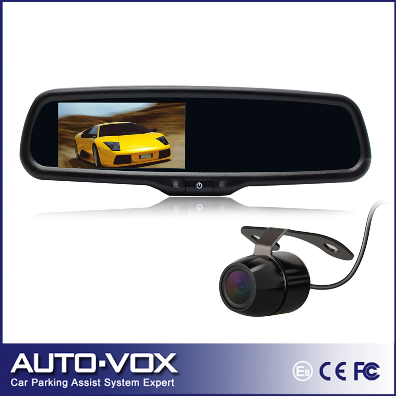 100% Original New 4.3 inch Car Anti-glaring Glass Rear View Mirror Monitor With Reversing Mini Camera Front Rearview Switchable(China (Mainland))