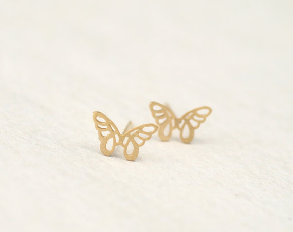 30pairs/lot Christmas Gift Fashion Gold Silver Plated Jewelry Stainless Steel Charm Butterfly Wing Stud Earrings For Women<br><br>Aliexpress