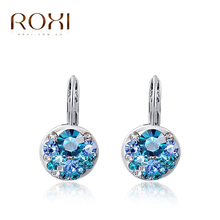 ROXI Brand 2015 AAA zircon earrings for women crystal Blue Crystal earrings accessories Platinum gold Plated jewelry(China (Mainland))