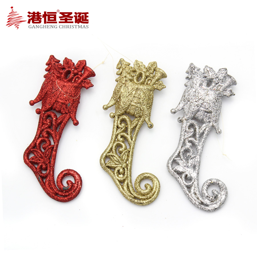 14*6cm Powder Red Gold Silver Boot-shaped Pendant Christmas Tree Decoration XmasM022(China (Mainland))