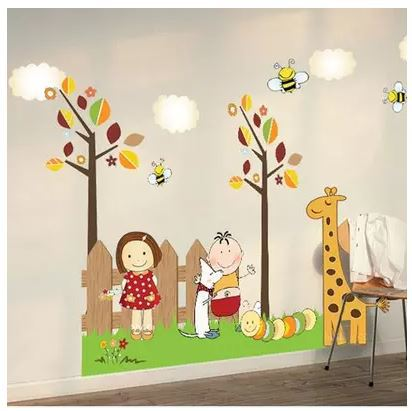 Retail Childhood Happy Time Wall Sticker for Kids Baby Nursery Wall Decals for Children Room Removable Poster Drop Shipping(China (Mainland))