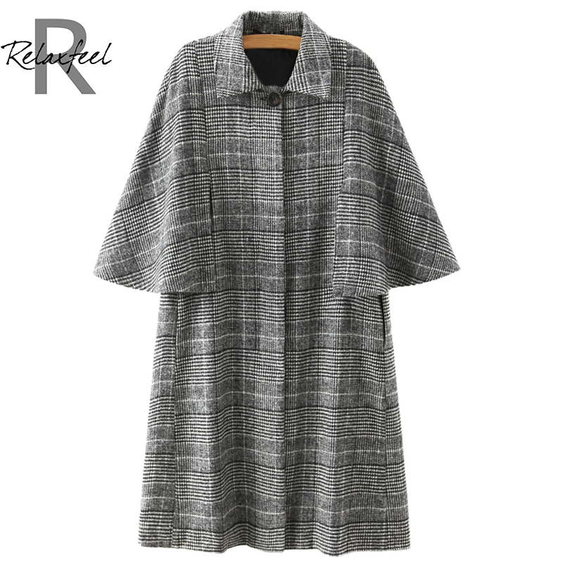 Relaxfeel Women s Grey Lapel font b Tartan b font Plaid Cloak Woolen Coats