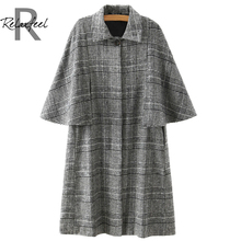 Relaxfeel Women's Grey Lapel Tartan Plaid Cloak Woolen Coats