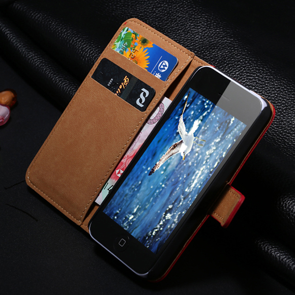 Retail Luxury Retro Real Genuine Leather Cell Phone Case For Apple iPhone 5 5S 5G Stand Wallet Holster Back Cover For iPhone 5(China (Mainland))
