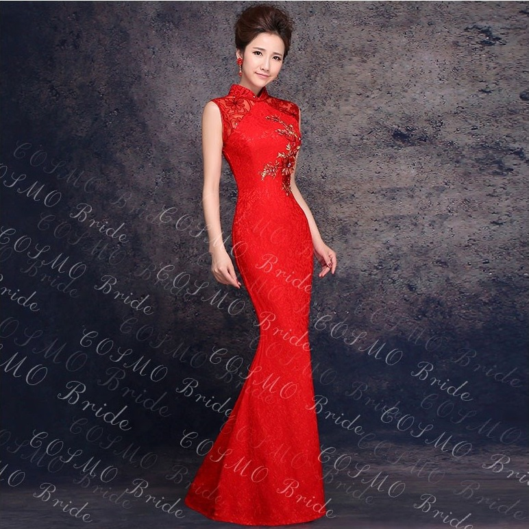 Bridal qipao lace wedding dress married formal dress red slim modern
