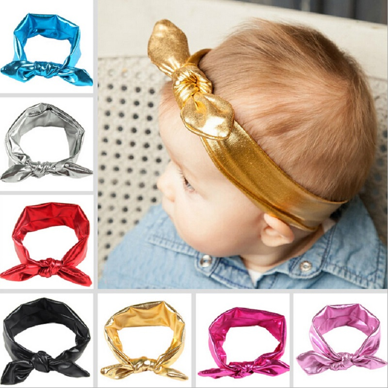 New Design Kids Girls Stretch Rabbit Ear Hairband Top Knot Glitter Bow Turban Headbands Hair Band Accessories 1pc HB385(China (Mainland))