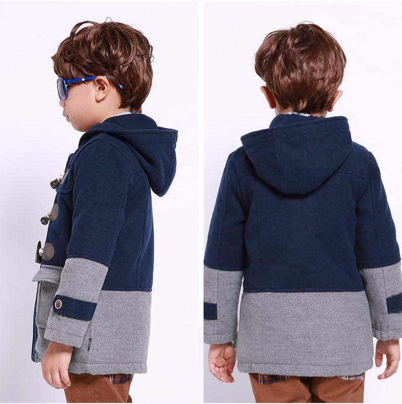 Скидки на SOGNI ДЕТИ Мальчики Одежда Мода Марка Дети Пальто Шерсти Верхняя Одежда Для мальчиков Утолщаются Капюшоном Мальчиков Зимние Куртки Детская Одежда