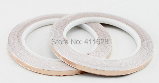 2 Roll 9mm Sticky Copper Foil Tape, Single Side Adhesive Conductive Copper Foil Strip for EMI Shield, Stained Glass Work, Guitar(China (Mainland))