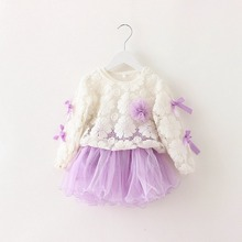 Autumn Long Sleeved O Neck Lace Flower Bow Kids Baby Bebe Girls Dresses Princess Ball Gown Tutu Birthday Party Dress MT380