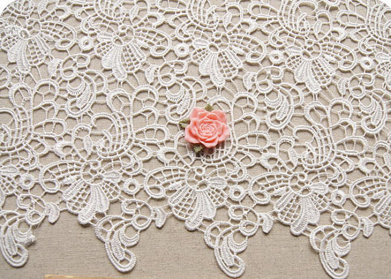 off white lace fabric, crochet lace, venise lace fabric with retro floral, 10 yards