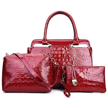 Buy 3pcs/set Women Handbag Crocodile Pattern Composite Bag Women Shoulder Bags Black Red Patent Leather Handbag+Messenger Bag+Purse for $29.51 in AliExpress store