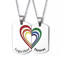 Brand new gay rainbow necklaces&pendants for women men pride stainless steel rainbow jewelry for men price for 1 pair(China (Mainland))