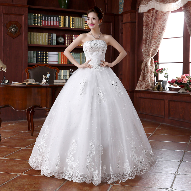 2016 Brand New Wedding Dresses with Appliques White/Ivory Ball Gown Princess Formal Dress Elegant Vestidos De Novia Bridal Gown(China (Mainland))