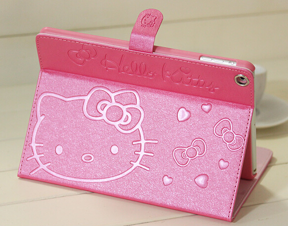 New Super slim PU Leather tablet case for Apple iPad mini 1 2 3 hello kitty protective sleeve stand cover wake up & sleeping(China (Mainland))