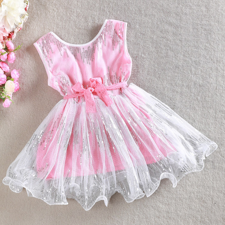 Minnie Rushed Girl Dress For Girls Clothes 2015 New Summer Style Costume V Fashion Dress Sequin Mesh Fancy Party Ready In Stock(China (Mainland))