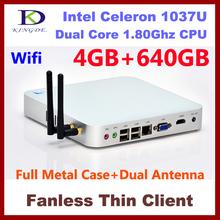 4GB&640GB Metal case  thin client, Terminal pc, desktop pc ,Dual core Intel Celeron 1037U 1.8Ghz,HDMI, WIFI,Windows 7,3D Game(Hong Kong)