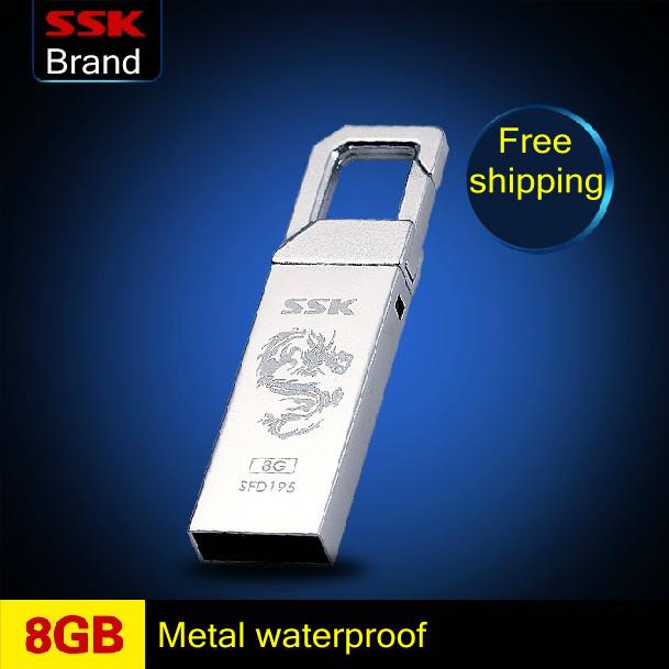 Ssk usb flash drive 100% 8GB mini metal waterproof pen drive sandofan lock key chain usb flash drive Free shipping(China (Mainland))