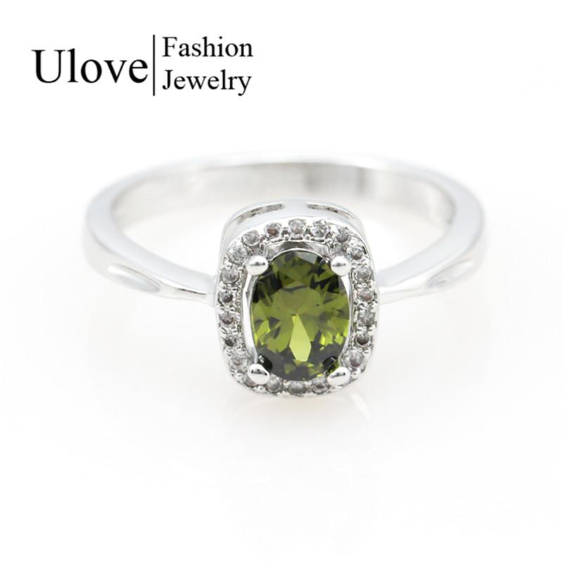 6 Colors Green Olivine Peridot Zircon CZ Diamond Ring Women's Fashion Girl Engage Party Rings Wedding Gift Ulove Size 6-9 Y3180(China (Mainland))