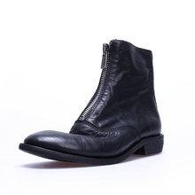 WETKISS Hakiki Deri Çizmeler Kırmızı Ayakkabı Yuvarlak Ayak Ön fermuar Düşük topuk Martin çizme Kadın Kalın Topuk Kovboy Çizmeleri 2019 sonbahar(China)