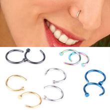 2 stücke Medizinische Nasenloch Titan Gold Silber Nase Hoop Nasenringe Clip Auf Nasenring Gefälschte Piercing Schmuck Für Frauen(China (Mainland))