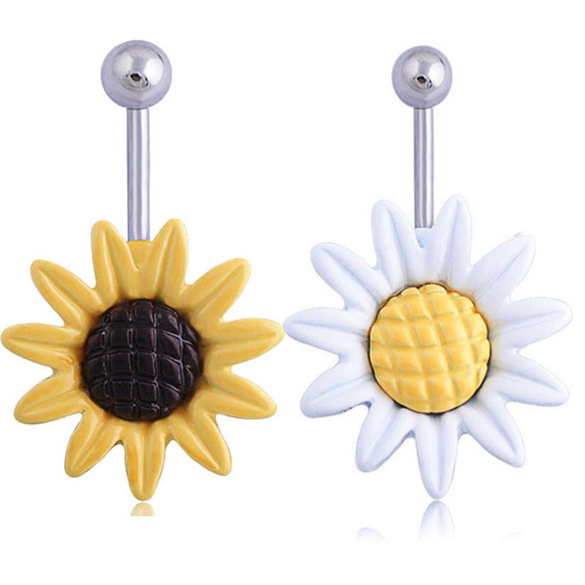 Hot Marketing Sunflower Flower Surgical Steel Belly Button Ring Navel Piercing Body Jun15(China (Mainland))