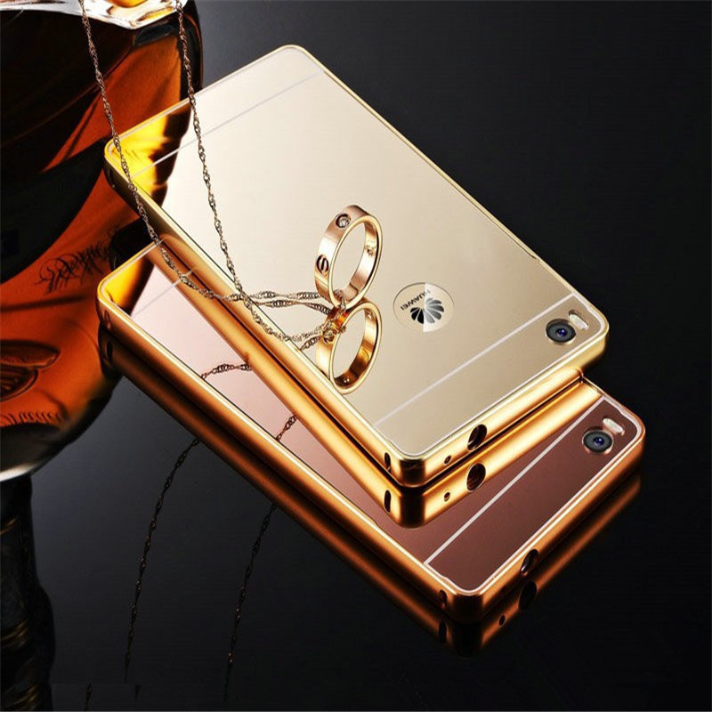Gold Luxury Case P8 Lite Ultra Slim Bling Metal Aluminum Alloy Frame Mirror Acrylic Back Cover Huawei 5.0 inch - ko yo store