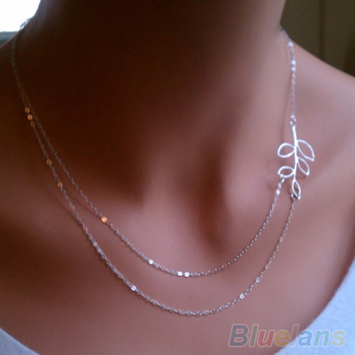 Fashion Womens Double Chain Leaves Pendant Charm Silver Plated Necklace 1S5Q(China (Mainland))