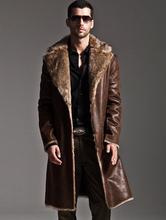New 2015 Winter Faux Fur Men black fur fashion mens long fur coat S-XXXL Specials leather jacket jaqueta de couro masculina(China (Mainland))