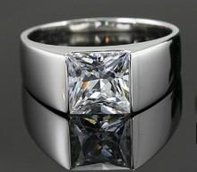 2Ct Superb Princess Cut SONA Synthetic Diamond Men Ring Wedding Engagement 925 Silver Ring Wholesale Drop Shipping DY-JZ0125(China (Mainland))