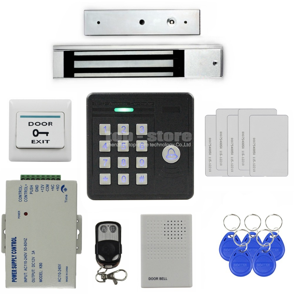 Door Bell Waterproof 125KHz Rfid Card Reader Password Keypad + 280kg Magnetic Lock + Remote Control Access Control Security Kit(China (Mainland))