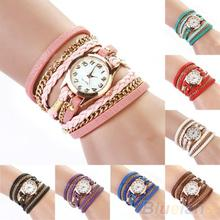 2014 New FAshion Hot Colorful  Vintage  women watches  Weave Wrap Rivet Leather Bracelet wristwatches watch 0TR9
