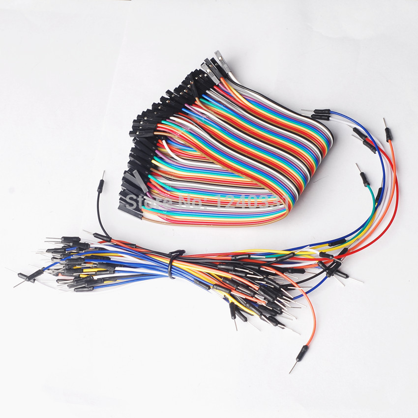 65PCS Breadboard tie line jumper cable + 40PCS Dupont wire 20cm cable Line 1P-1P Female to Female Wire Free Shipping(China (Mainland))