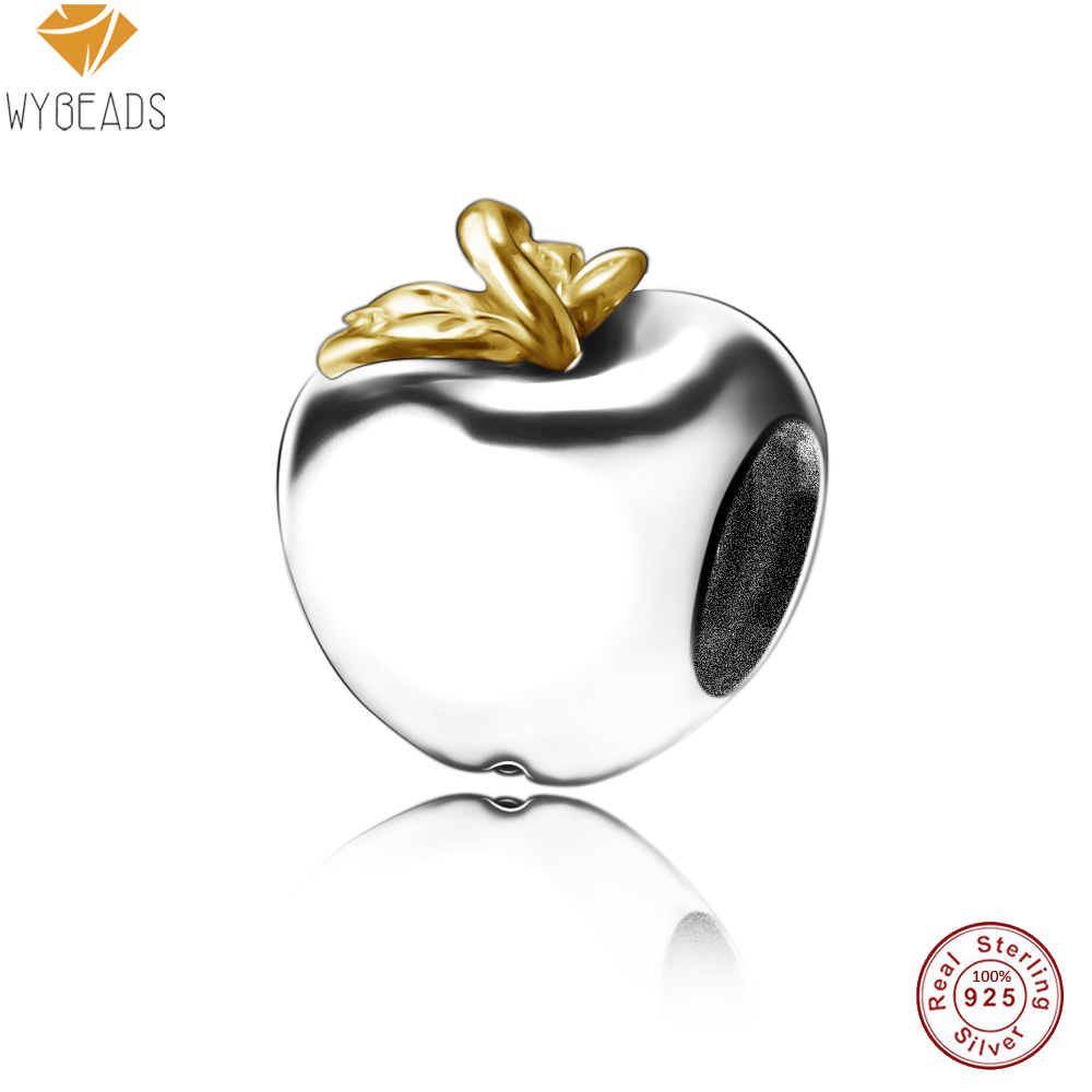 WYBEADS 100% 925 Sterling Silver Charms Fruit European Charm Fit Snake Chain Bracelet Bangle DIY Original Jewelry Making(China (Mainland))