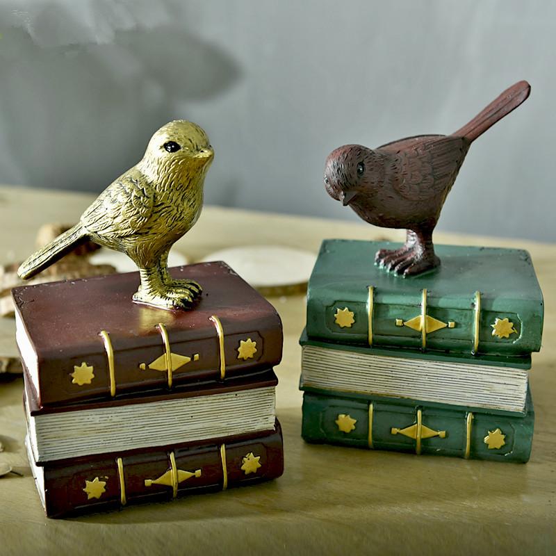Antique Bookcase Study Ornaments Bird Home Decor Resin Crafts Creative Decor Home Furnishing Bookend Bookshelf(China (Mainland))