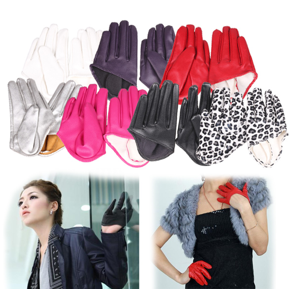 Hot Woman Tight Half Palm Gloves Imitation Leather Five Finger Mittens Vivid Color BS88(China (Mainland))