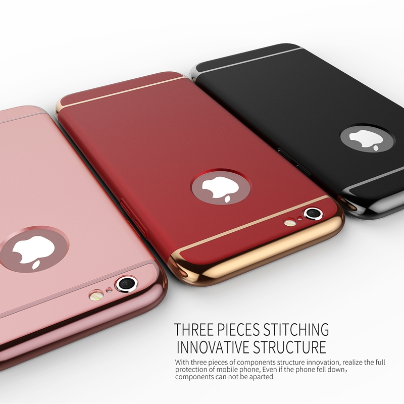 2016 New Arrival !!! Luxury PC Plating Hard Matte Cover Case For iPhone 6 6S 4.7 Bling Edge + Logo Circle For Apple Accessories(China (Mainland))