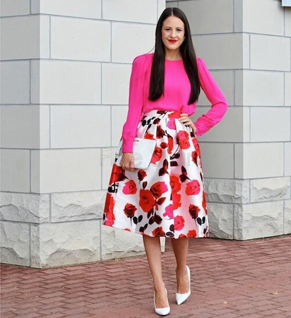 2017 Wholesale Plus Size Vintage Pleated Midi Skirt A Line Ball ...