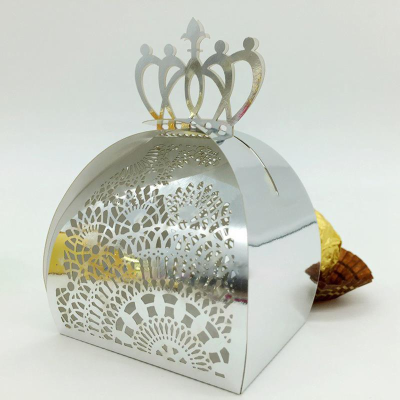 Laser Cut Hollow Imperial Crown Candy Gifts Boxes Wedding Event&Party boda Supplies Favor Creative candy shaped multicolor pearl(China (Mainland))