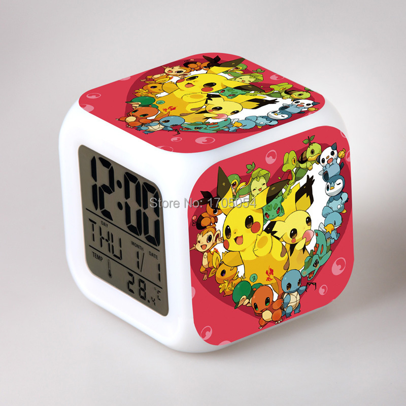 bureau r veil horloges de dessins anim s 7 couleur led. Black Bedroom Furniture Sets. Home Design Ideas