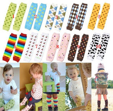 2016 Toddler Knee High Baby Socks Rainbow Stripes Design Girls Boys Fall Winter Leg Warmers Fox Socks Knee Pad Chaussette Femme(China (Mainland))