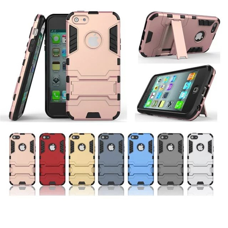 For iPhone SE Case Hybrid Kickstand 2 in1 combo Bracket Stand Case + Heavy Duty Armor Phone Back case For Apple iPhone SE/5S/5(China (Mainland))