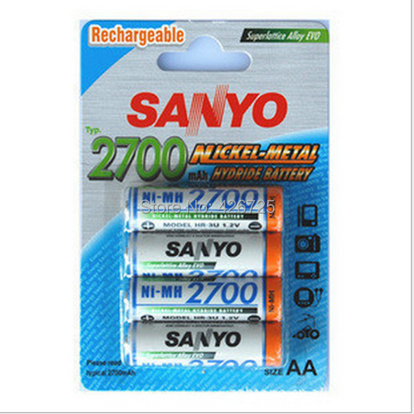 4pcs/pack Rechargeable Sanyo AA 2700mAh NI-MH 1.2V Battery With Case for Toys, MP3, Camera + Free Shipping(China (Mainland))