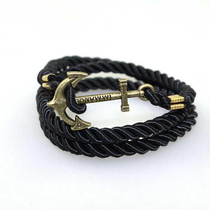 Summer Style bracelets bangles Vintage Bronze Anchor Leather Bracelets For Women Men Fashion Punk Best Friend