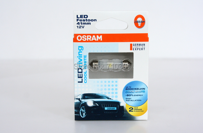 Free shipping!! Car Rear lamps OSRAM LED RIVING COOL WHITE 6441 CW 6441CW C5W 41MM 12V 1W 6000K, Made In TAIWAN(China (Mainland))