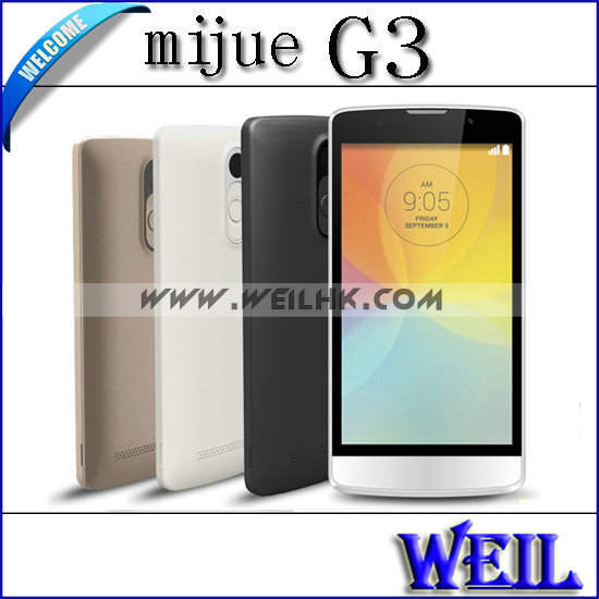 Mijue G3 MTK6572 Cortex A7 dual core 1.2GHz 5.0'' IPS Android 4.4 3G WCDMA Mobile Phone 2.0MP CAM 512M RAM 4G ROM Phone Russian(China (Mainland))