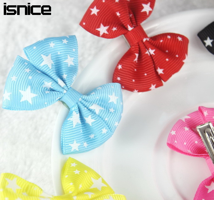 Isnice 10 Pcs Star Heart 2 inch Baby girls headwear Bow Hairpin Hair Clips for Girl hair accessories Flower Gum for Hair(China (Mainland))