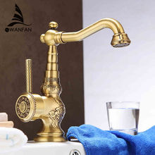 Newly Free Shipping Wholesale And Retail Deck Mounted Vintage Antique Brass Bathroom Sink Basin Faucet Mixer Tap LA10120AAB(China (Mainland))