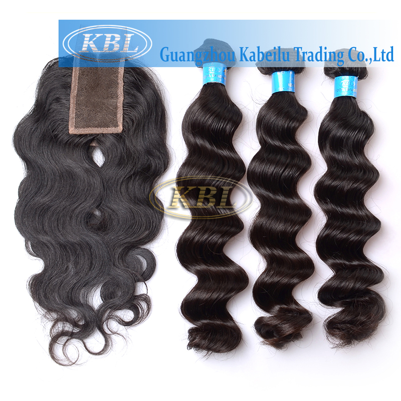 Kabeilu Hair Products Brazilian Virgin Hair With Closure,5A Unprocessed Cheap Brazilian Loose wave Virgin Hair With Lace Closure