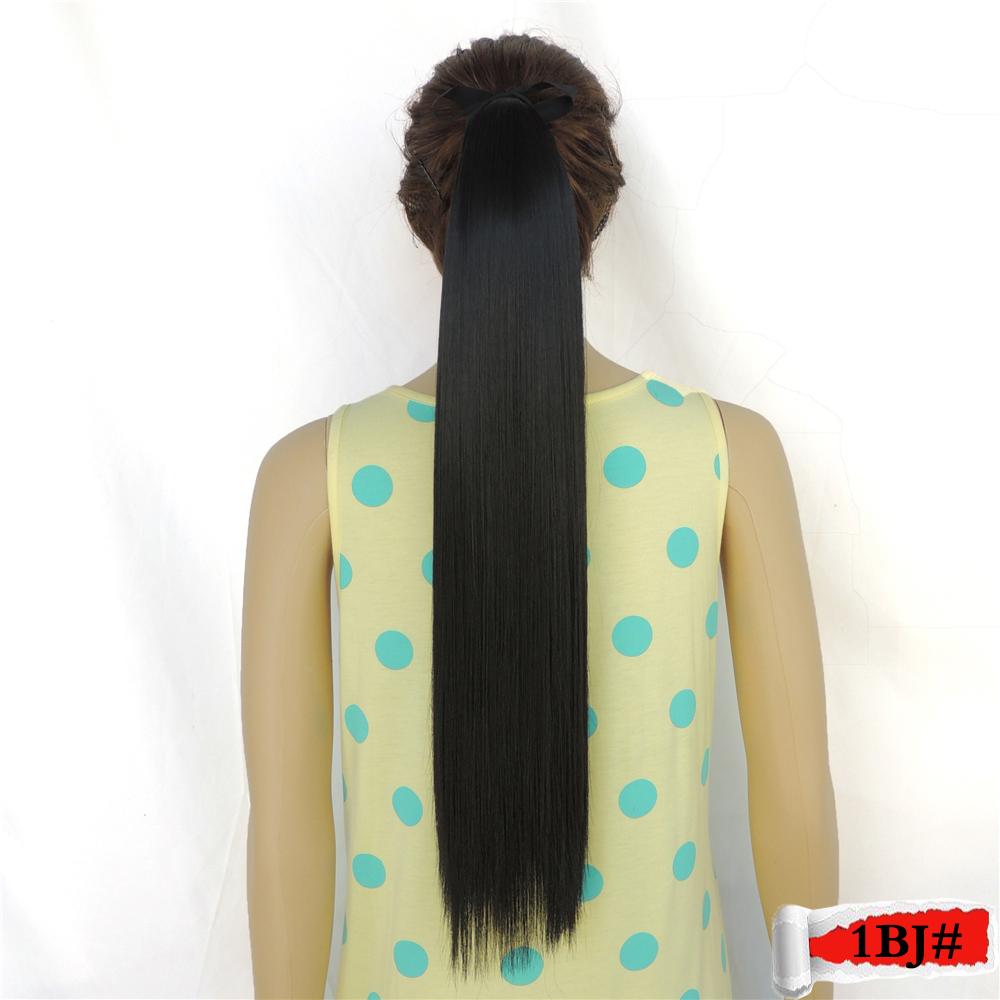 ponytail hair aplique de cabelo false coleteros para el pelo mega hairpiece extension sintetico 22inch 55cm 90g 1bj color<br><br>Aliexpress